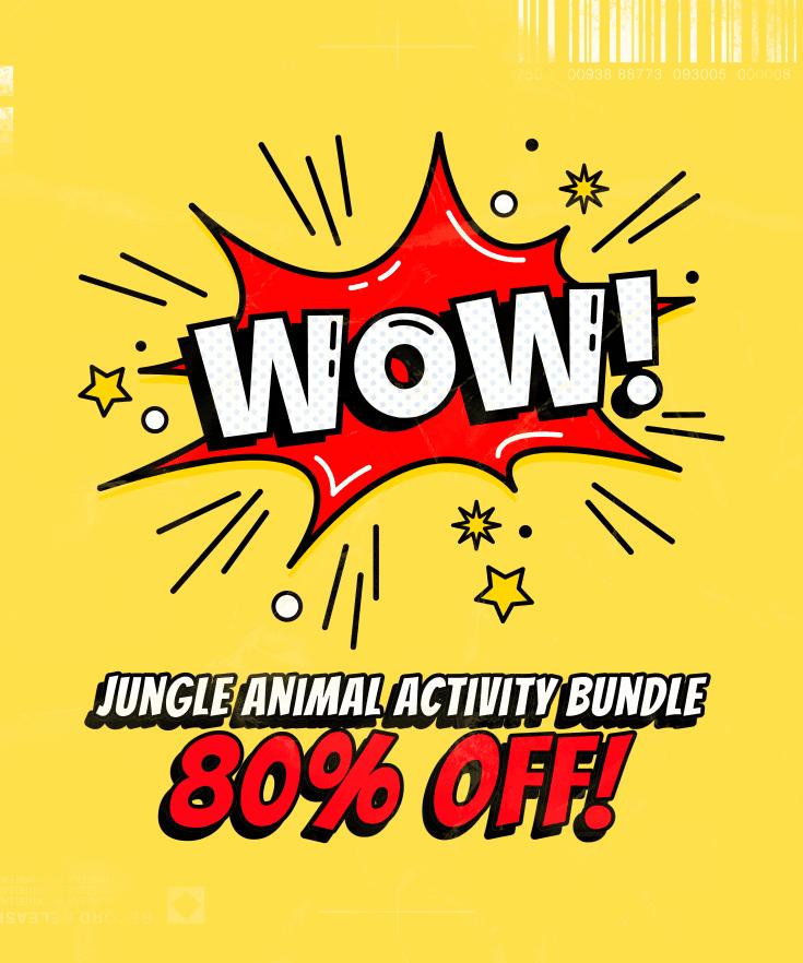 Jungle Animals Educational Activity Bundle Sale